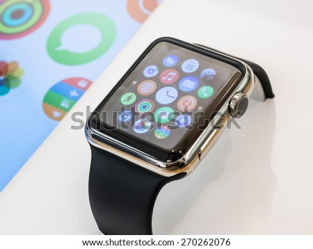 TORONTO, CANADA - APRIL 10, 2015: A new Apple Watch stis at the Apple Store in Toronto. - stock photo