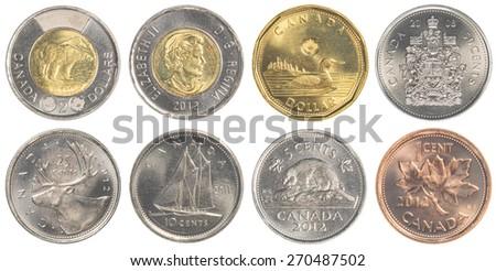 TORONTO, CANADA - APRIL 19, 2015: circulating Canadian Dollar coins  - stock photo