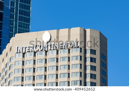 TORONTO,CANADA-APRIL 19,2016:Intercontinental hotel facade: Hotel known for it luxurious interior design and the staff's attention to detail. President of USA stays here when visiting Canada.