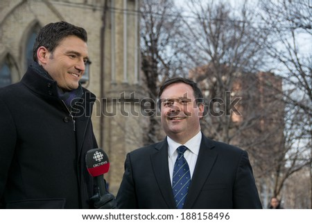Toronto, Canada-April 16, 2014: Jason Kenney, Minister of Employment and multiculturalism at State Funeral for Jim Flaherty, former Minister of Finace of Canada, held at St. James Cathedral in Toronto