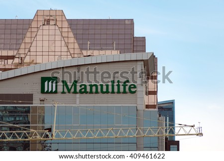 TORONTO,CANADA-APRIL 19,2016: Manulife Financial is a Canadian insurance company and financial services provider, with its corporate headquarters in Toronto, Ontario, Canada - stock photo