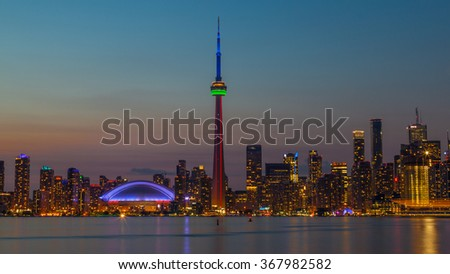 Toronto , Canada - Aug 15, 2015 : Toronto Skyline at dusk