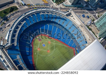 TORONTO, CANADA - AUGUST 9, 2014: Aerial view of the Rogers Centre - stock photo