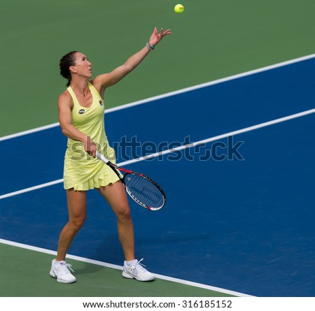 TORONTO, CANADA - AUGUST 11 :  Jelena Jankovic in action at the 2015 Rogers Cup WTA Premier 5 tennis tournament