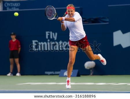 TORONTO, CANADA - AUGUST 12 :  Victoria Azarenka in action at the 2015 Rogers Cup WTA Premier 5 tennis tournament