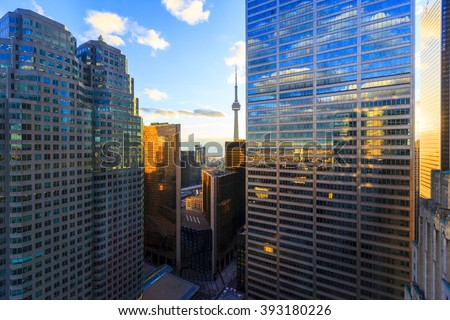TORONTO CANADA 5.FEB. 2016:Aerial view of Toronto Downtown Core. Toronto is the most populous city in Canada and the provincial capital of Ontario. (GTA) which contains 6.2 million people. - stock photo