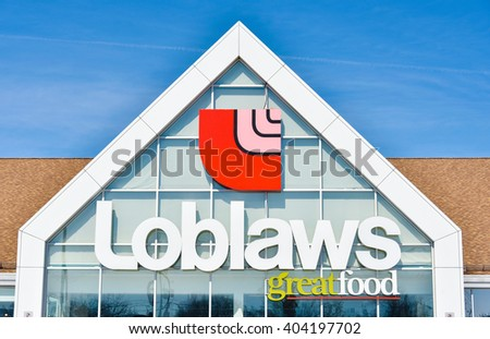 TORONTO,CANADA-FEBRUARY 6,2016:Loblaws store sign: supermarket known for selling great products at reasonable prices.
