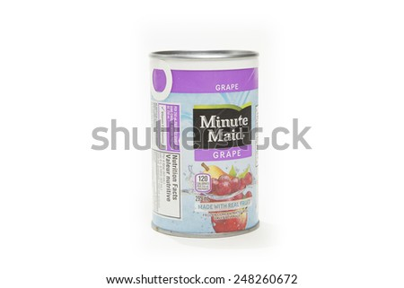 TORONTO, CANADA - JANUARY 28, 2015 : Frozen Container of Minute Maid Concentrated Fruit Juice with a Grape Flavor shown on a bright background - stock photo