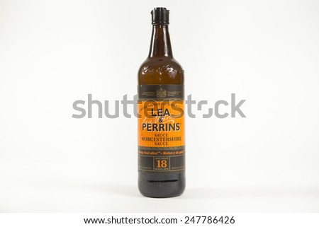 Toronto, Canada - January 27 2015 : Glass Bottle of Lea & Perrins Worcestershire Sauce on a bright background - stock photo