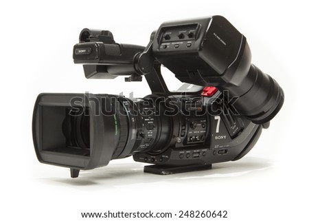 TORONTO, CANADA - JANUARY 28, 2015 : Sony PMW-EX3 XDCAM Professional Video Camera with the EXMOR CMOS Sensor shown on a bright background - stock photo