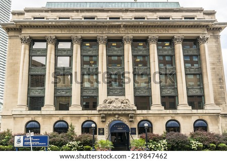 TORONTO, CANADA - JULY 23, 2014: Toronto Harbour Commission Building - six storey building erected in 1917 in Toronto by Alfred Chapman for the locally run Toronto Harbour Commission.  - stock photo