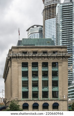 TORONTO, CANADA - JULY 23, 2014: Toronto Harbour Commission Building - six storey building erected in 1917 in Toronto by Alfred Chapman for the locally run Toronto Harbour Commission. Canada. - stock photo