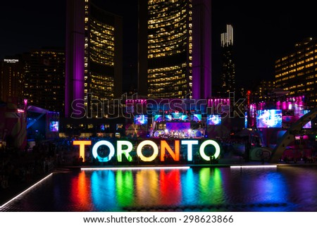 TORONTO,CANADA-JULY 20,2015: Toronto Pan American Games 2015 ambience: Nathan Phillips Square during Panamania, the cultural festival that goes along the games. - stock photo