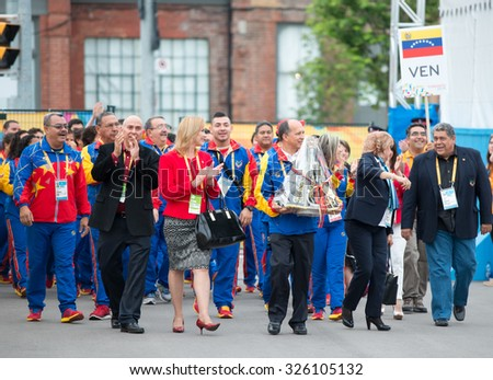 TORONTO,CANADA-JULY 8,2015: Toronto PanAm Games: Welcoming ceremony to the Venezuela delegation into the Athletes' Village Any info included is ONLY for GuidanceCase # 01953074