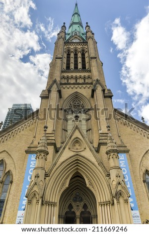 TORONTO, CANADA - JUNE 14, 2014: Cathedral Church of St. James in Toronto, Ontario, Canada. The home of the oldest congregation in the city.