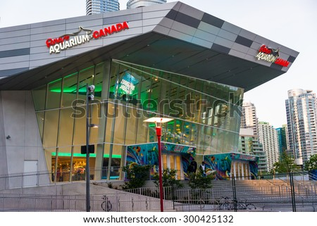 TORONTO,CANADA-JUNE 25,2015: Exterior of Ripley's Aquarium of Canada which is one of the most popular attractions in the city - stock photo