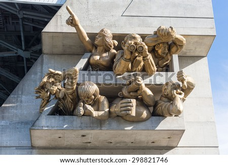 TORONTO,CANADA-JUNE 15,2015: The Audience sculpture by Michael Snow at Roger Centre. Rogers Centre  is a multi-purpose stadium in downtown Toronto situated just southwest of the CN Tower.