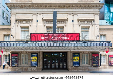 TORONTO,CANADA-JUNE 16,2016:The Royal Alexandra Theatre is a theatre on a sunny bright spring day. The 1,497-seat Royal Alex is the oldest continuously operating legitimate theatre in North America.