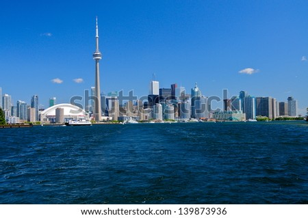 TORONTO, CANADA - JUNE 26: Toronto skyline with architectures on June 26, 2012 in Toronto, Canada.  With a population of 6M, Toronto is the  capital of Ontario and the largest city in Canada.