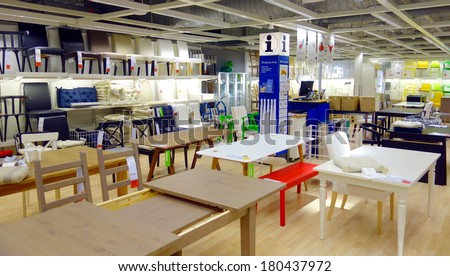 TORONTO, CANADA - MARCH 1, 2014: Furniture on display at an Ikea store in Toronto, Canada. Founded in Sweden in 1943, Ikea is the world's largest furniture retailer. - stock photo