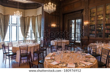 TORONTO, CANADA-MARCH 8, 2014: Interior design and decoration of: Casa Loma  one of Toronto's top ten tourist attractions. Around 300,000 visitors tour Casa Loma and the Estate Gardens each year. - stock photo