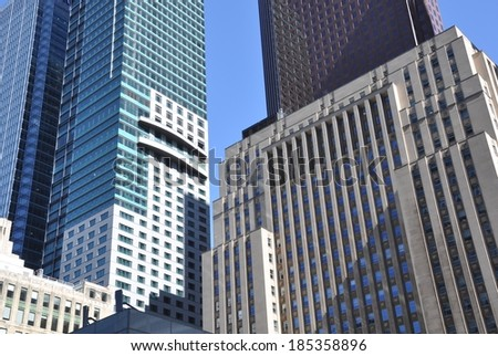 Toronto, Canada - March 17, 2014: Photo of high rise commercial buildings in Toronto's financial district. - stock photo