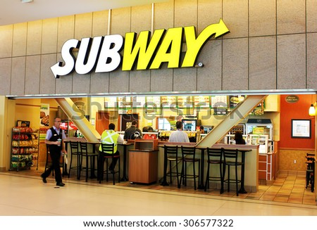TORONTO, CANADA - MAY 29, 2014 : A subway fast food restaurant on May, 29, 2014 in Toronto, Ontario, Canada. Subway restaurant is one of the fastest growing franchises in the world. - stock photo