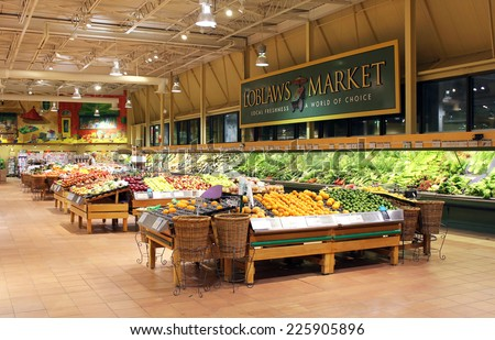 TORONTO, CANADA - MAY 06, 2014: View of a Loblaws supermarket in Toronto, Ontario, Canada. Loblaws is Canada's largest food distributor and supermarket chain with over 70 stores in Canada. - stock photo