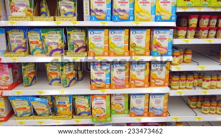 TORONTO, CANADA - NOVEMBER 22, 2014: Baby and toddler food section in a supermarket in Toronto, Canada.