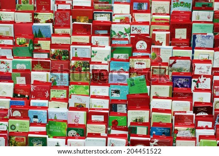Toronto canada november 30 2013 greeting stock photo royalty free toronto canada november 30 2013 greeting cards on display in a store m4hsunfo