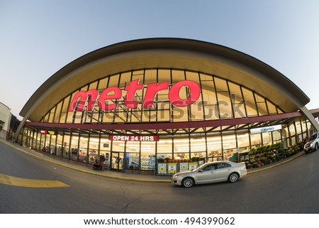 TORONTO,CANADA-OCTOBER 2, 2016: Metro grocery shopping store. Metro Inc. is a food retailer operating in the Canadian provinces of Quebec and Ontario. Metro is the third largest grocer in Canada