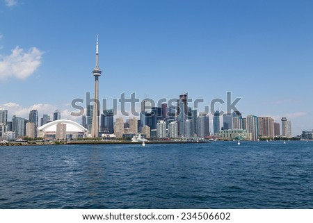 TORONTO, CANADA - 27TH JULY 2014: Part of Toronto Waterfront during the day from the west, showing offices, condos and landmarks