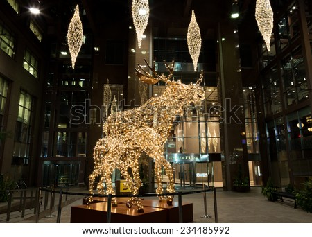 TORONTO, CANADA - 29TH NOVEMBER 2014: A view of Christmas decorations in Toronto at night