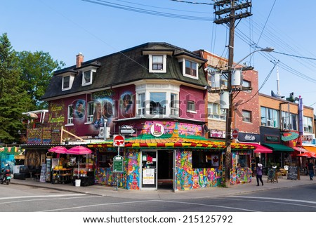 TORONTO, CANADA - 4TH SEPTEMBER 2014: The outside of the Big Fat Burrito Building located in Kensington Market Toronto