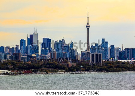 TORONTO CANADA 16-10-2015:Toronto Skyline with architectures Toronto with the population of 6M is the provincial capital of Ontario and the largest city in Canada.