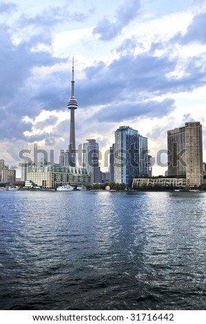 Toronto city waterfront skyline in late afternoon - stock photo