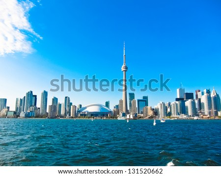 Toronto cityscape from Central Island - stock photo