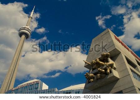 Toronto CN Tower near Renaissance Hotel and Rogers Centre - stock photo