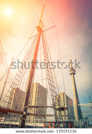 Toronto downtown from the Harbourfront on Ontario Lake - stock photo