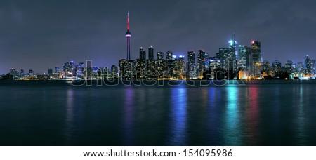 Toronto Downtown Skyline  panorama at night - stock photo