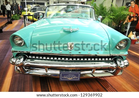 TORONTO-FEBRUARY 22: A 1955 Mercury Montclair convertible on display during the 40th International Auto Show on February 22, 2013 in Toronto, Canada.