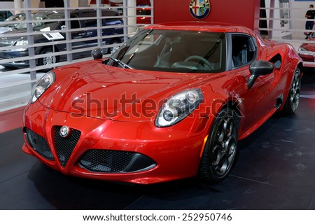 TORONTO-FEBRUARY 12: at the 2015 Canadian International Auto Show, Alfa Romeo Spider is coming to North America, but just 400 a year on February 12, 2015 in Toronto  - stock photo