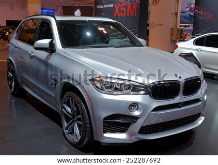 TORONTO-FEBRUARY 12: at the 2015 Canadian International Auto Show  BMW X5M (2015) is a high-performance derivative of the X5 and it is the first xDrive all-wheel-drive vehicles from BMW  - stock photo