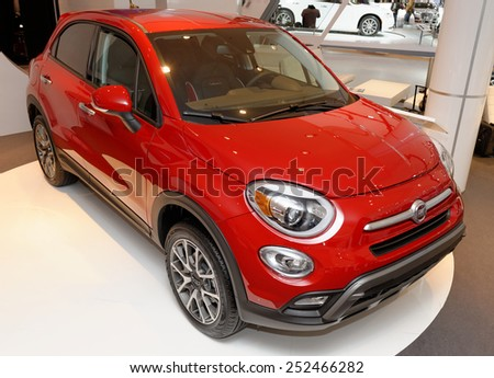 TORONTO-FEBRUARY 12: at the 2015 Canadian International Auto Show  Fiat 500X Trekking Plus AWD is a four-door, five-passenger crossover with 160 and 180hp four cylinder engine - stock photo