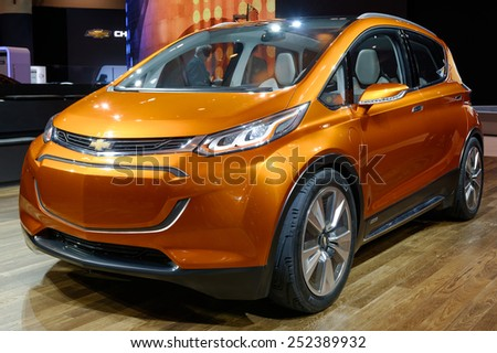 TORONTO-FEBRUARY 12: at the 2015 Canadian International Auto Show GMC Bolt Concept is a game-changing electric vehicle designed for attainability, not exclusivity  on February 12, 2015 in Toronto  - stock photo