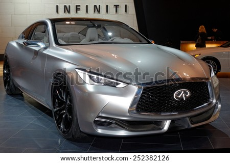 TORONTO-FEBRUARY 12: at the 2015 Canadian International Auto Show Infiniti Q60 Concept is a precursor to a high-performance sports coupe in a premium package - stock photo