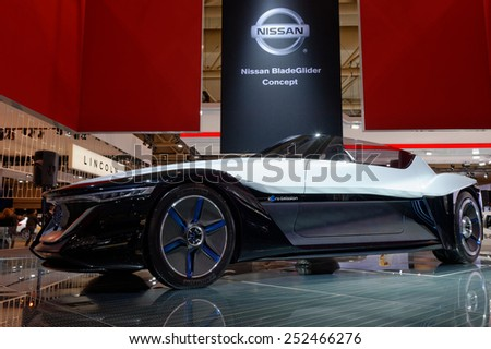 TORONTO-FEBRUARY 12: at the 2015 Canadian International Auto Show  Nissan BladeGlider Concept is a proposal for the future direction of Nissan electric vehicle  on February 12, 2015 in Toronto  - stock photo