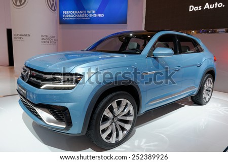 TORONTO-FEBRUARY 12: at the 2015 Canadian International Auto Show VW Cross Coupe GTE is a combination of an SUV, a TDI Clean Diesel engine, two electric motors and five driving models  - stock photo