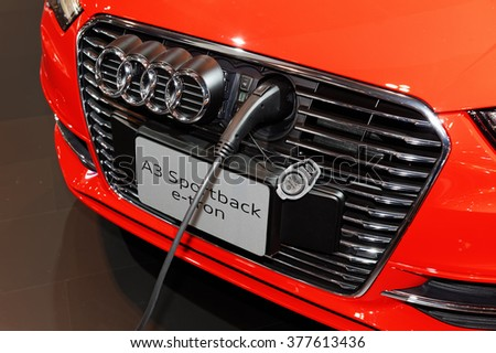 TORONTO-FEBRUARY 12: at the 2016 Canadian International AutoShow.Audi A3 Sportback e-tron has a 1.4-litre turbocharged gasoline engine and a 75-kW electric motor with combined output of 204hp - stock photo