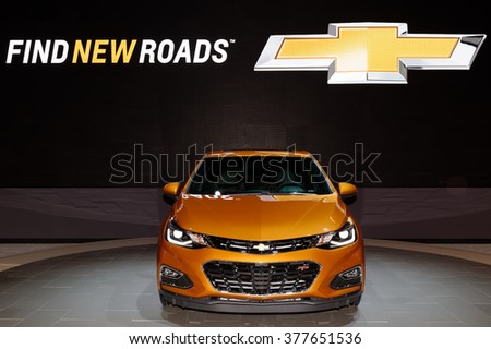 TORONTO-FEBRUARY 12: at the 2016 Canadian International AutoShow. 2017 Chevrolet Cruze Hatch will be available in both LT and Premier trims, with an RS option - stock photo